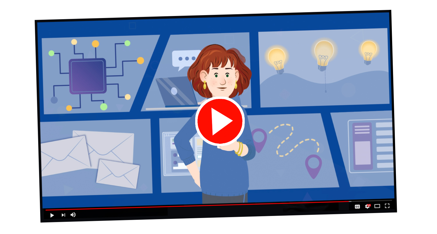 Animated graphic of a online video displaying a woman in the center