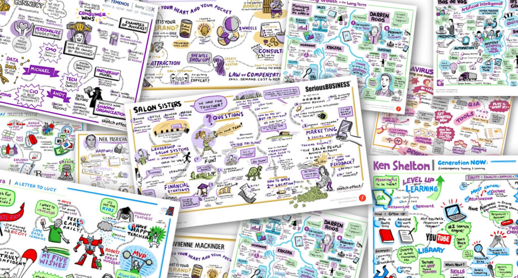 collage of virtual sketching graphics