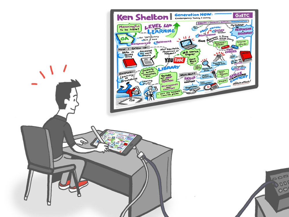 Animation of graphic recording artist creating a live virtual sketch