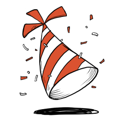 Animated sketch of a party hat