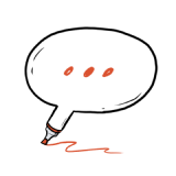 Animated sketch of a caption bubble