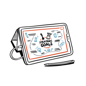 Animated sketch of a tablet with a graphic recording on the screen