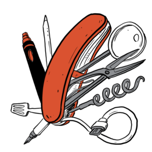 Sketch animation of a swiss army knife that has a pen tool