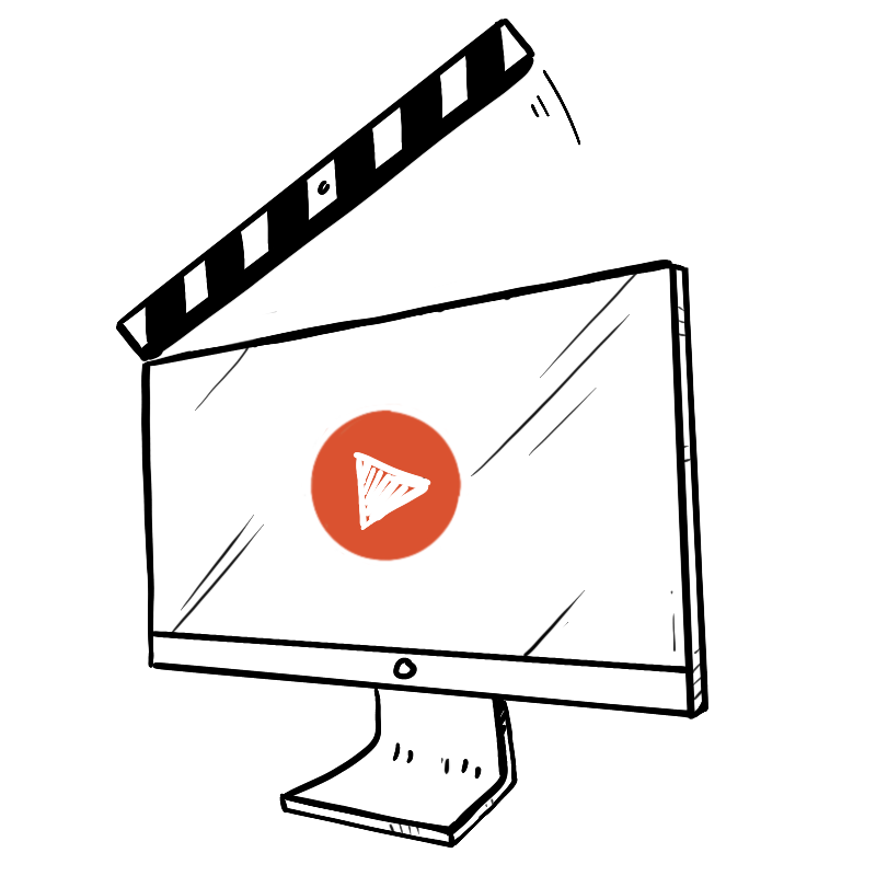 Animated graphic of a video playing on a computer