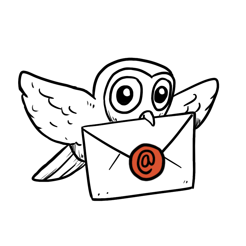 Animated sketch of an owl flying with a piece of mail
