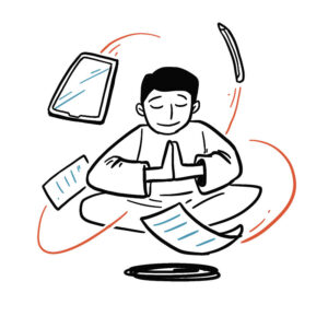 Animated sketch of a man meditating