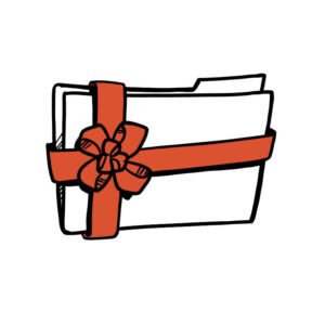 Animated sketch of a folder with a ribbon around it