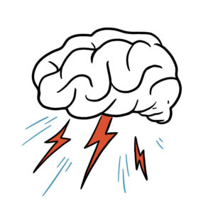 Animated sketch of a brain with lightning bolts and rain surrounding it