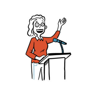 Animated sketch of a woman speaking at a podium