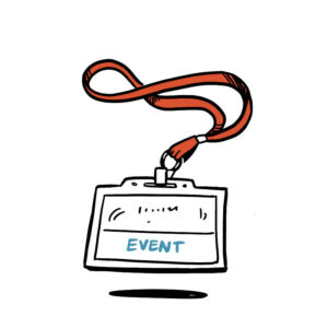 animated sketch of an event attendee badge
